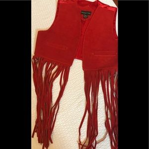 Boho Leather vest with long fringe